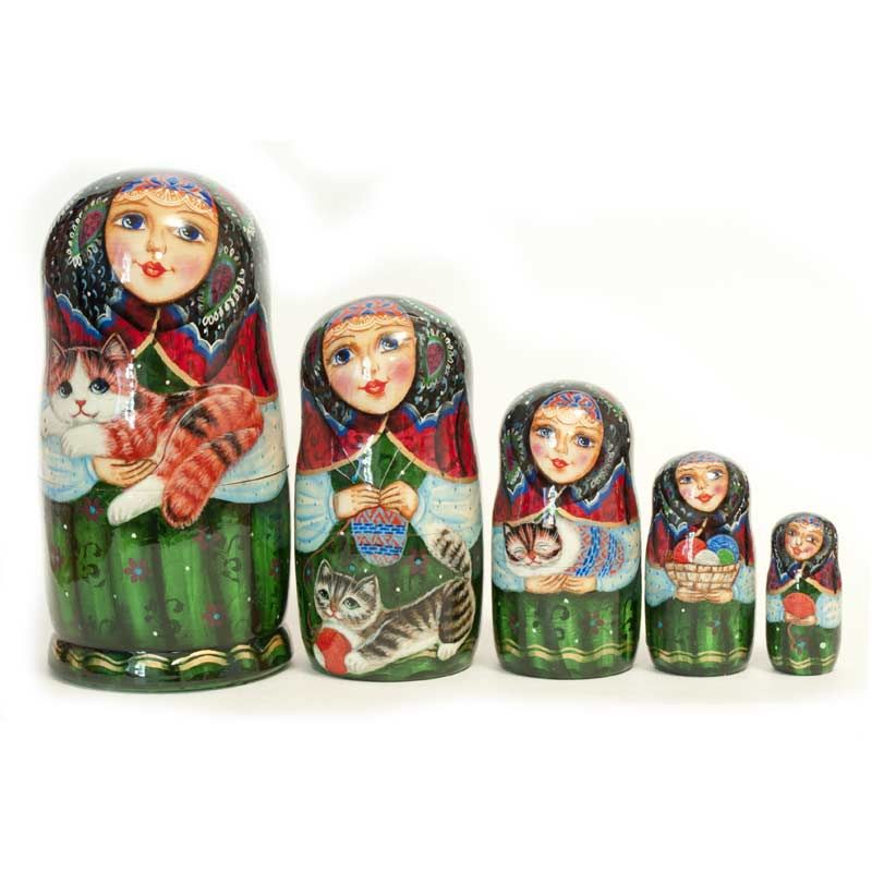 Russian Nesting Doll Girls with Cats is a one-of-a-kind nesting doll for collectors. The nesting dolls is painted with much details and it is decorated all around using different techniques and materials.