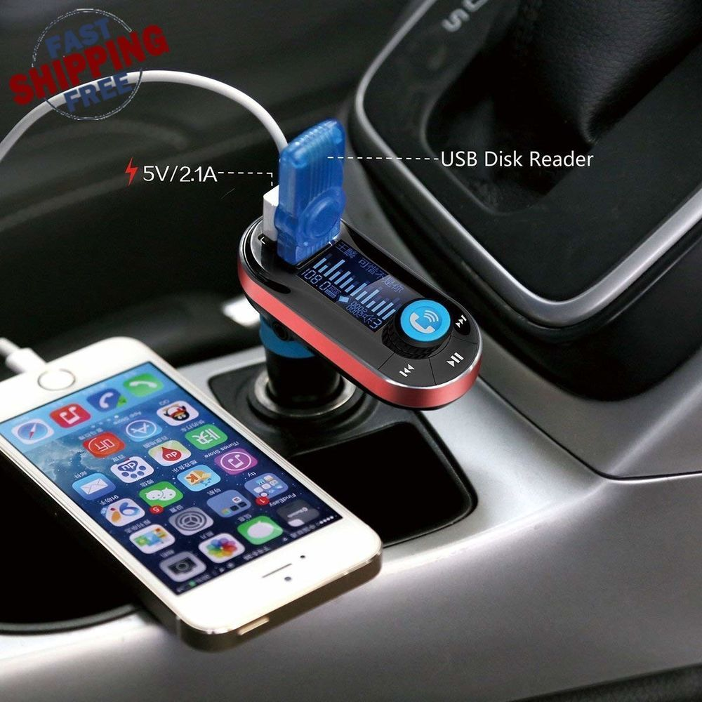 FM Transmitter Bluetooth USB With Remote Charger Aux Cord