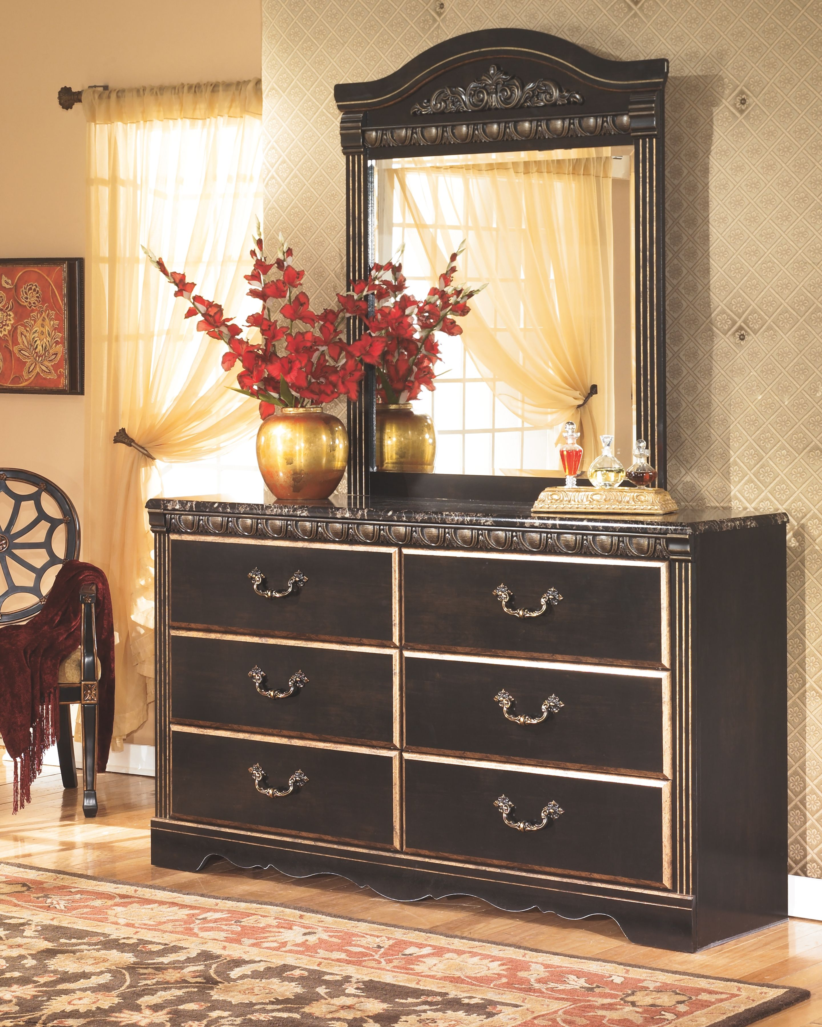 Coal Creek Dresser And Mirror Dark Brown Ashley Furniture