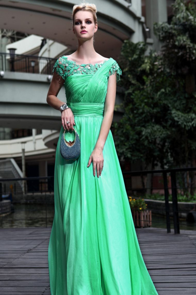 2012 Style Sheath Floor Length Chiffon Prom Gowns With Cap Sleeves ...