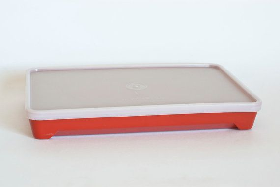Charming Vintage Tupperware Cold Cut Keeper, Deli Or Bacon Storage, Sandwich Meat  Storing, Marinating Container, Red Orange
