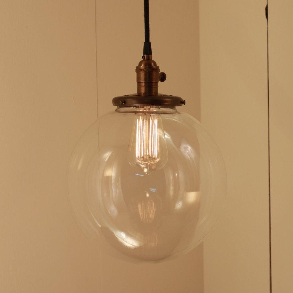 Hanging pendant light fixture with xtra large glass globe by hanging pendant light fixture with xtra large glass globe by lucentlampworks contemporary pendant lighting arubaitofo Gallery