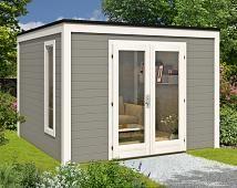 Pultdach Gartenhaus Maria-40 mit Anbau & Schleppdach ISO | Design ...
