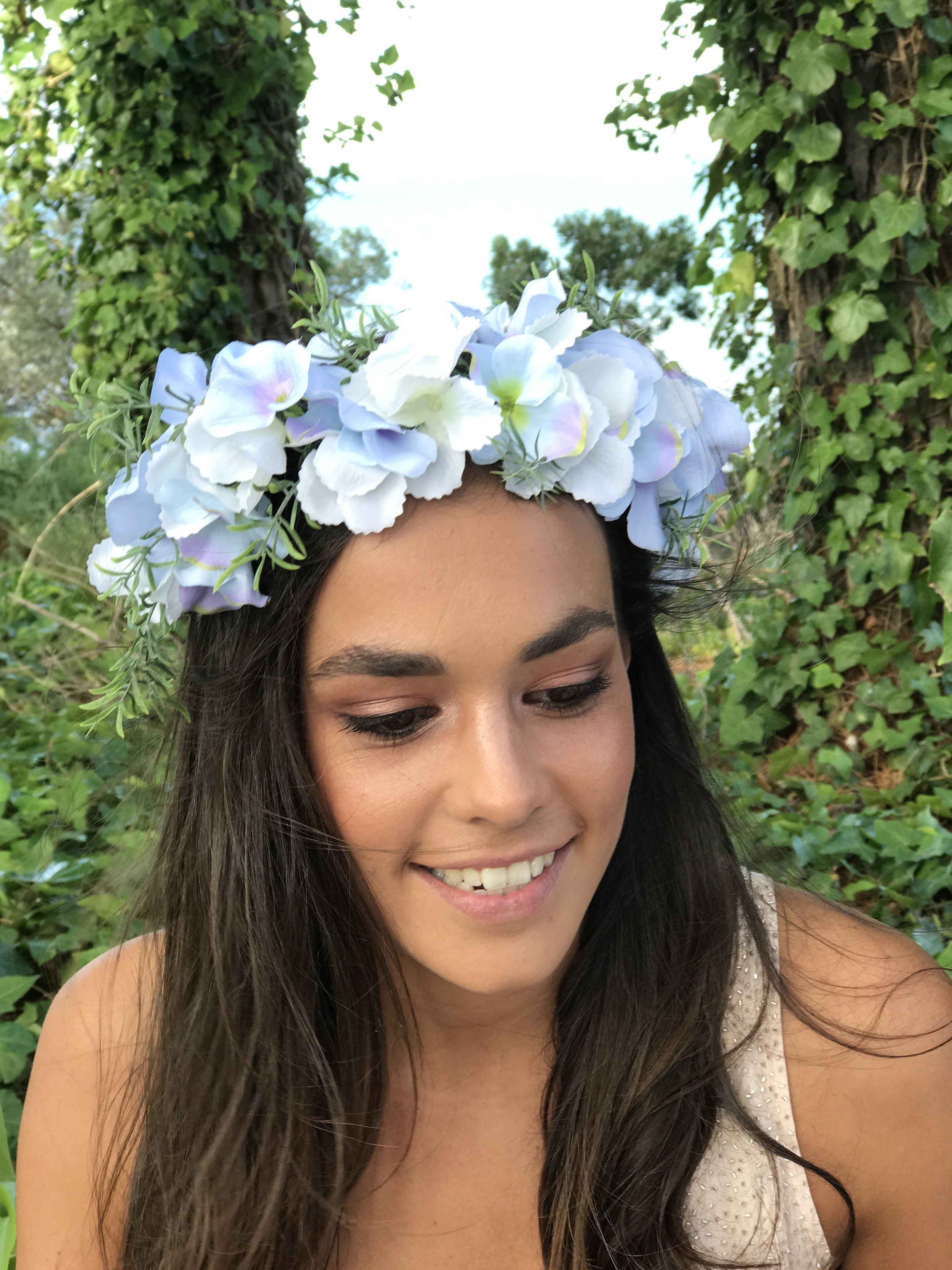 Blue Flower Crown I Made From High Quality Silk Products I Available