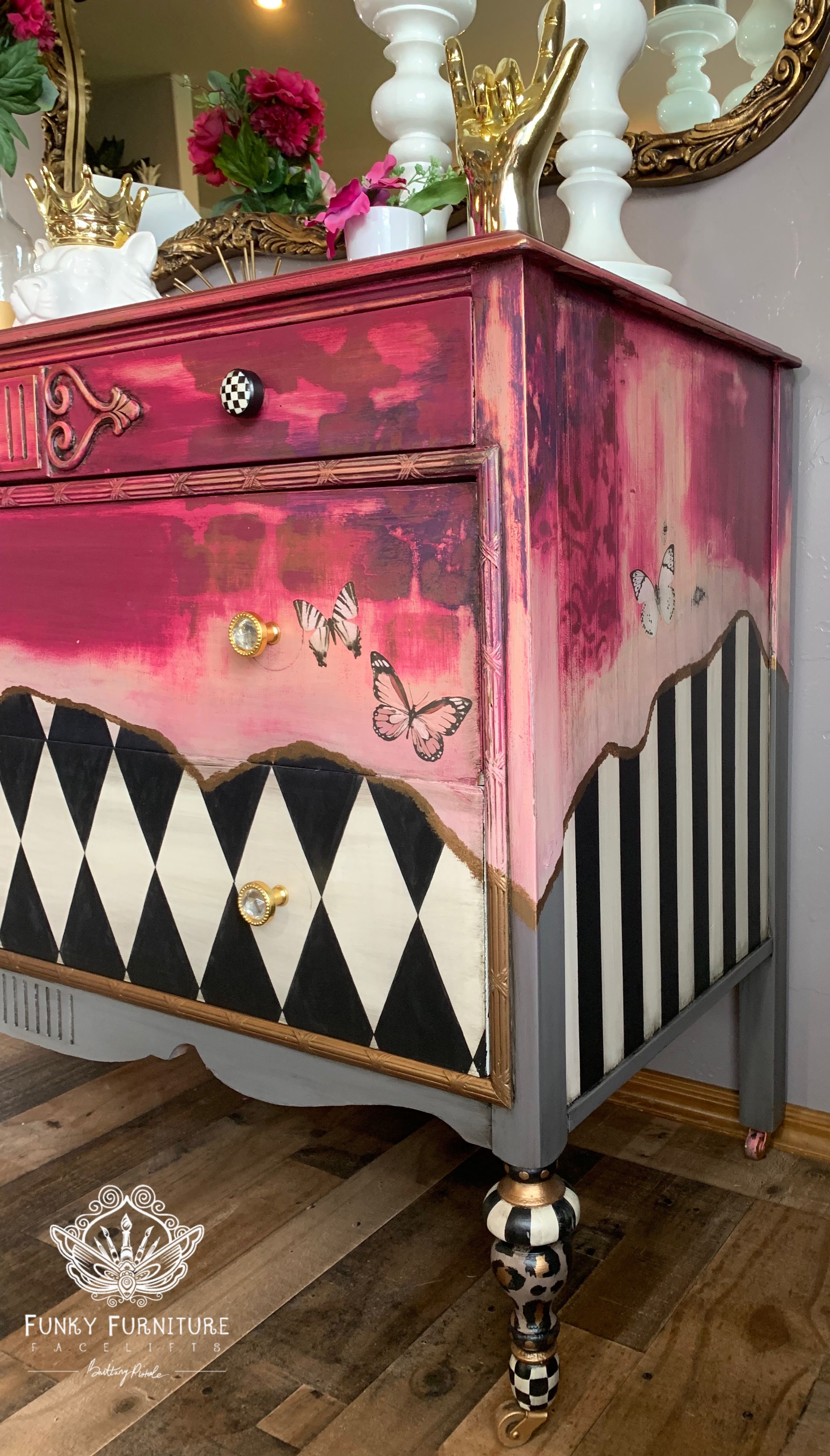 Hand Painted Dresser Funky Painted Furniture Whimsical Furniture Creative Furniture