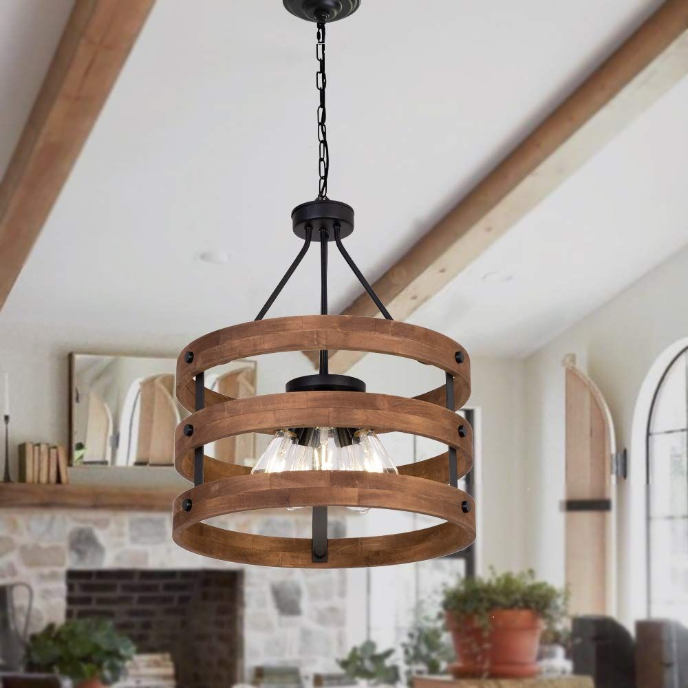 Modern Rustic Chandelier Circular Wood Chandeliers Wooden