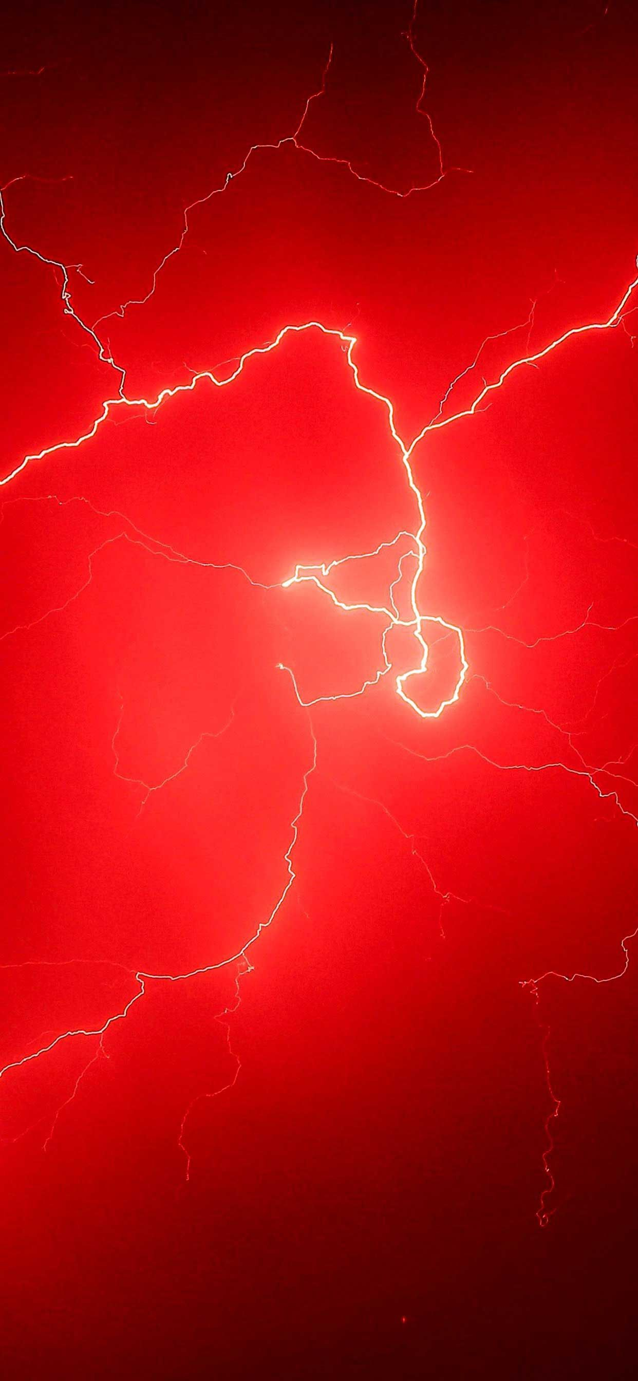 lightning storm red sky k d Iphone Pro Ma Wallpaper in ...