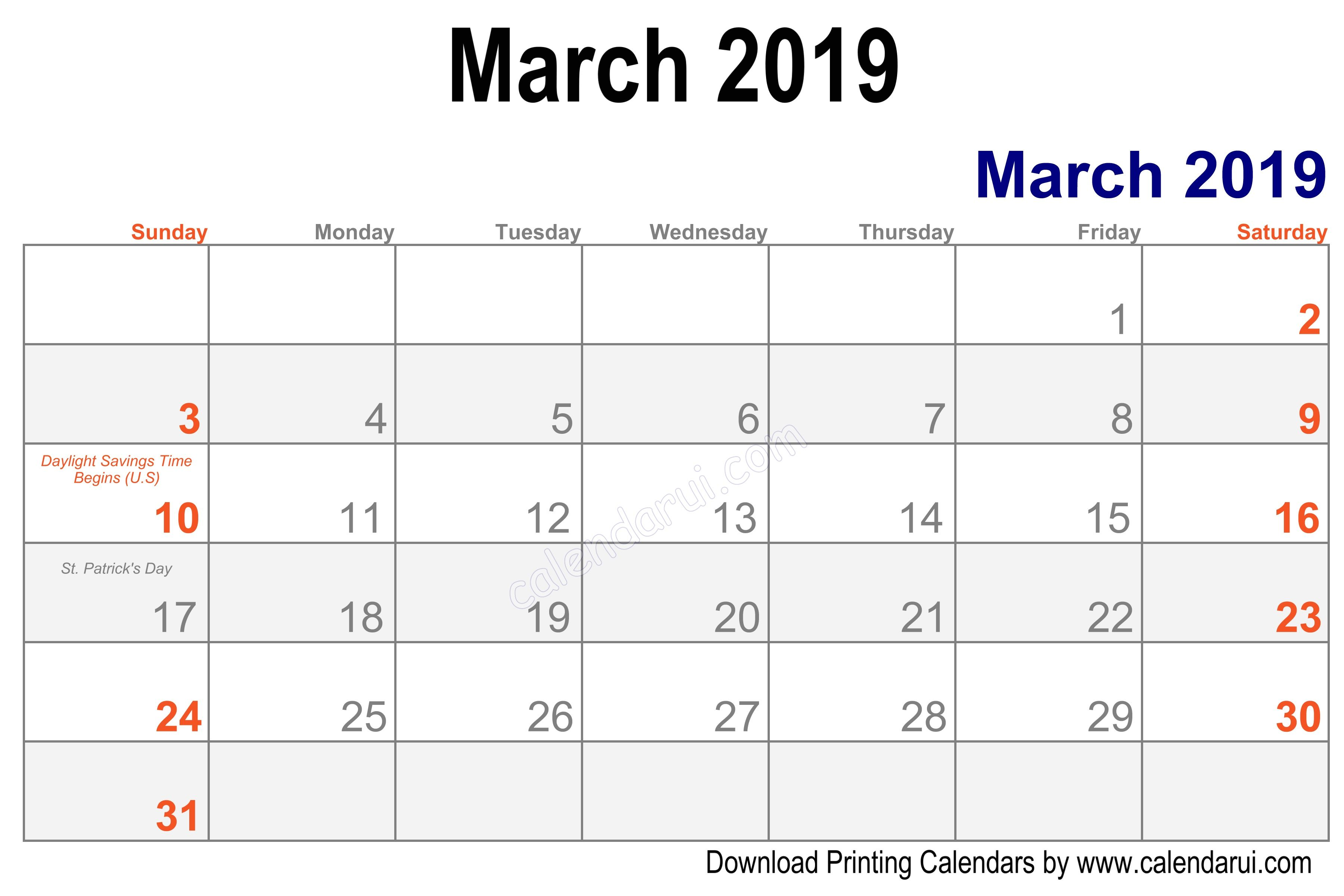 Blank March Calendar Calendar Printable Template