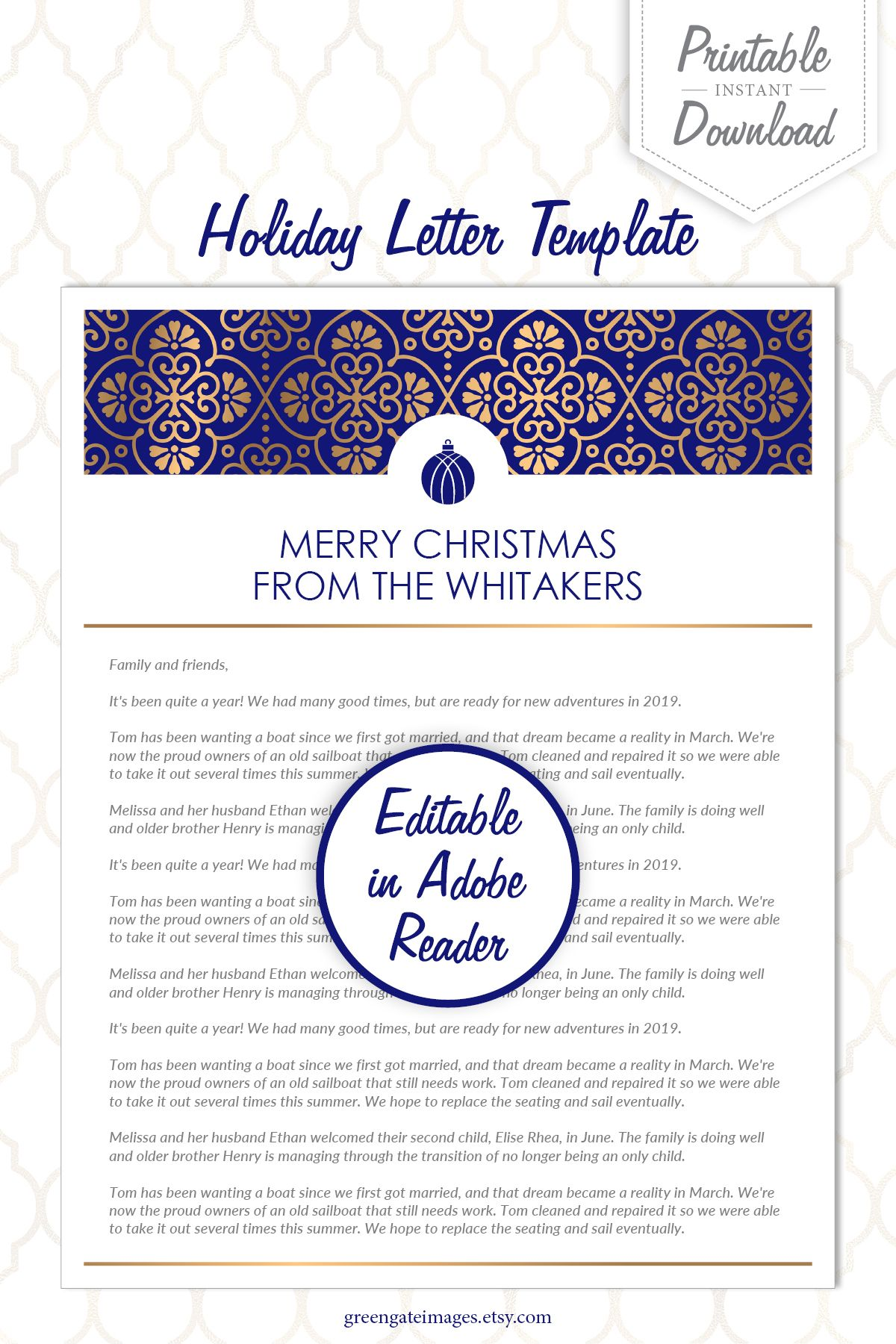Edit in Adobe Reader very easy! template holidayletter