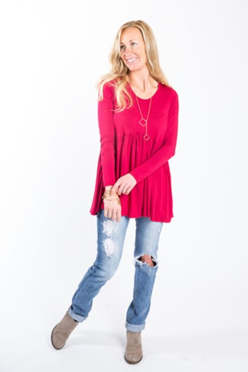 Agnes & Dora - Red Long Sleeve Muse Tunic