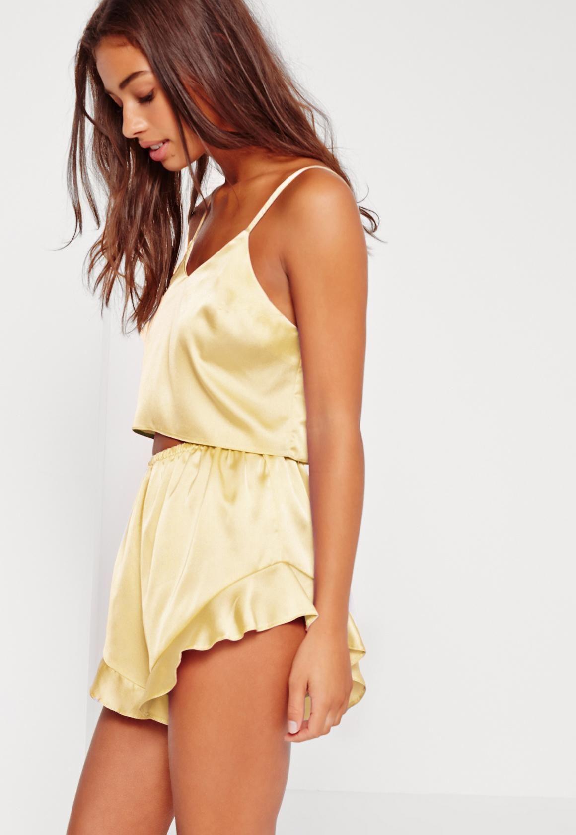 55a5d33f0128 Missguided - Yellow Cami Short PJ Set