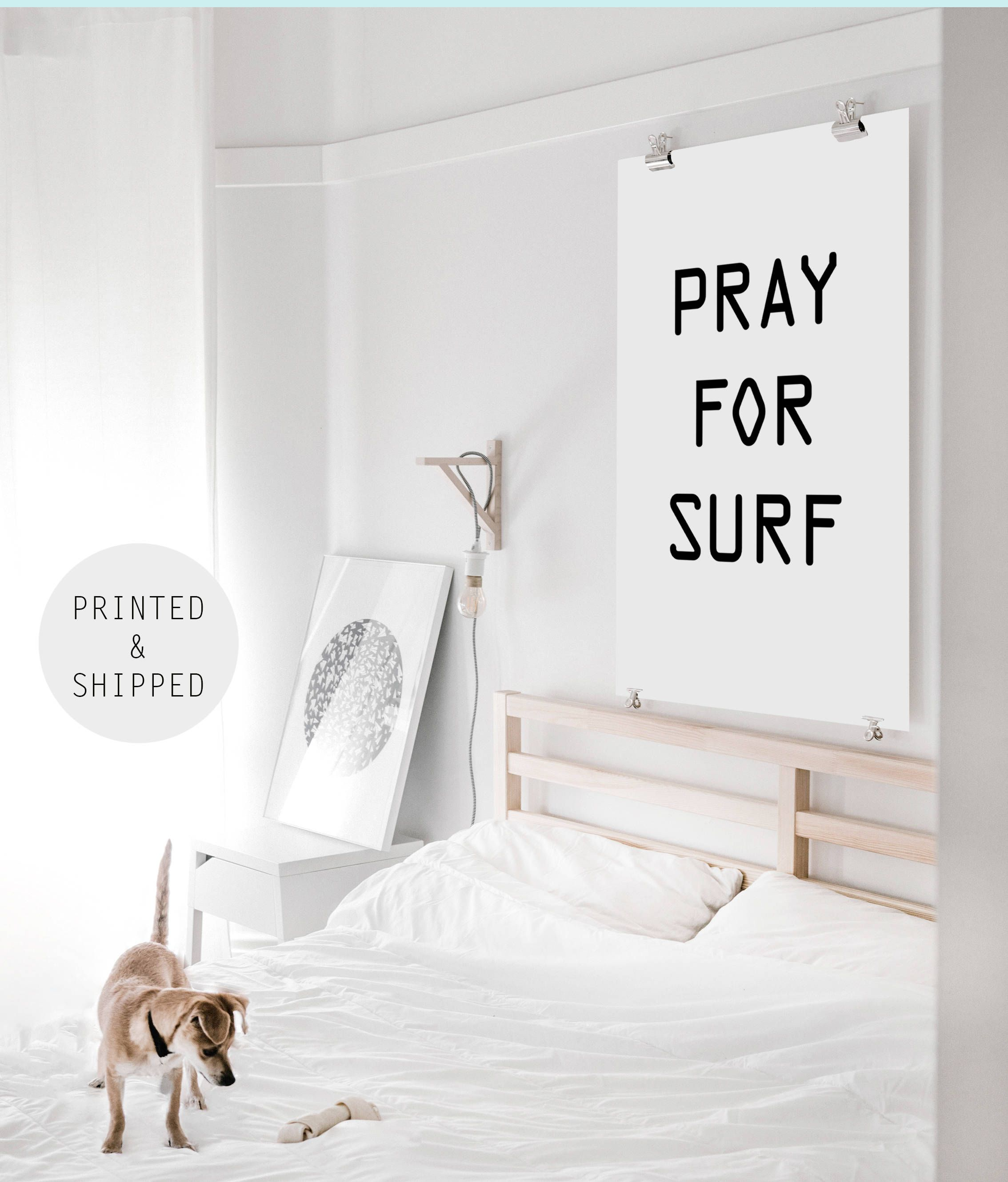 Pray For Surf Print Surf Poster Beach Print Beach Wall Art Large Poster Print 24x36 Surf Saying Print Surf Decor Beach Wall Art Beach Print