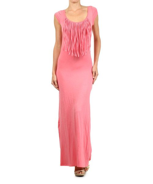 Take a look at the J-MODE Coral Fringe Maxi Dress on #zulily today!