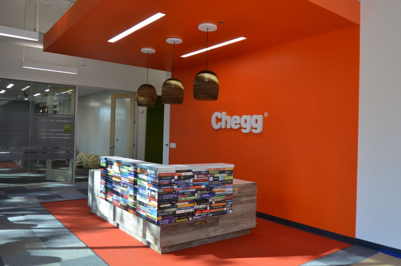 Upbeat, themedriven environmental graphics for Chegg's