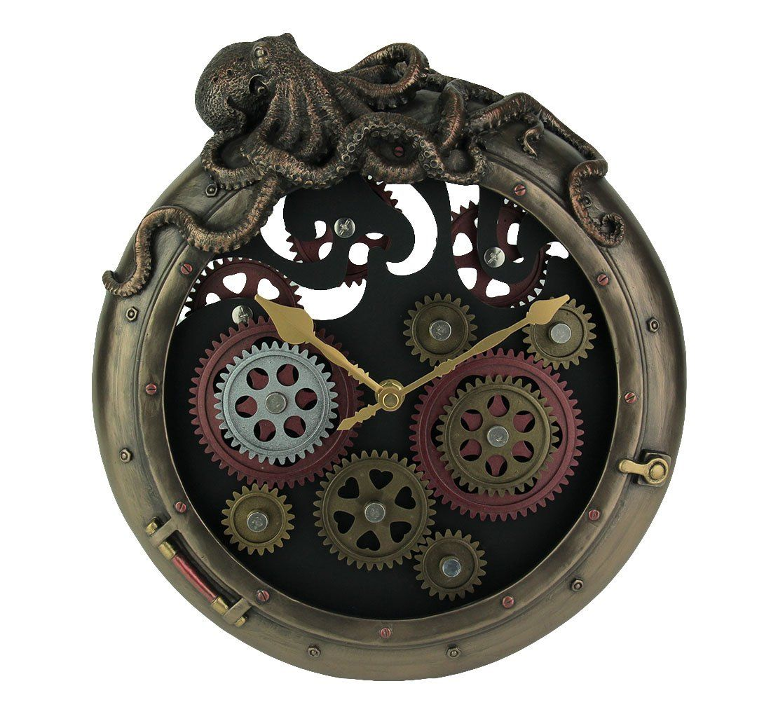 Resin Wall Clocks Steampunk Bronze Finish Octopus Porthole Wall Clock With Moving Gears Wall Clock With Moving Gears Wall Clock Steampunk Clock