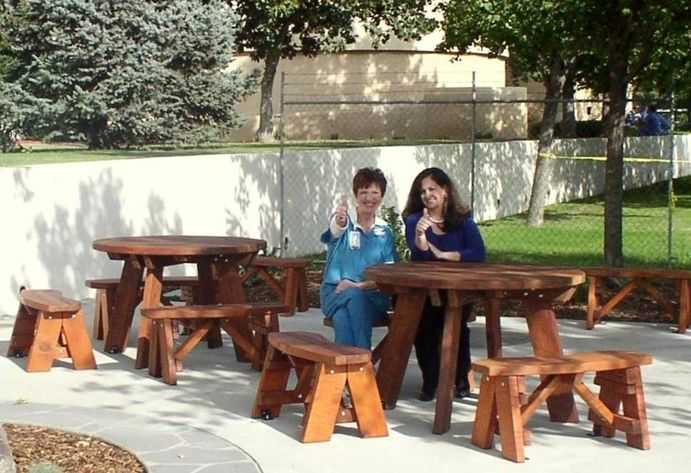Shop Online For Round Picnic Tables At Forever Redwood. Hand Crafted Round  Wooden Picnic Tables (detached Benches) Available In Custom Sizes, Shapes,  ...