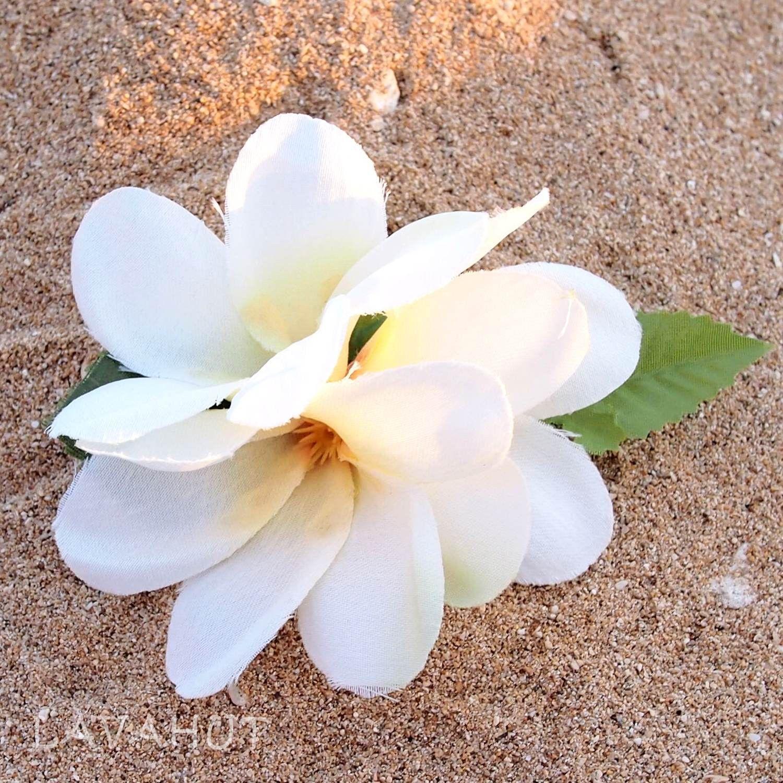 Petite Plumeria White Hawaiian Flower Hair Clip Products