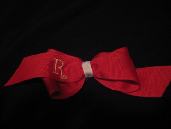 Beautiful R Monogram Bow Red with White Letter by dandbdesigns, $5.00