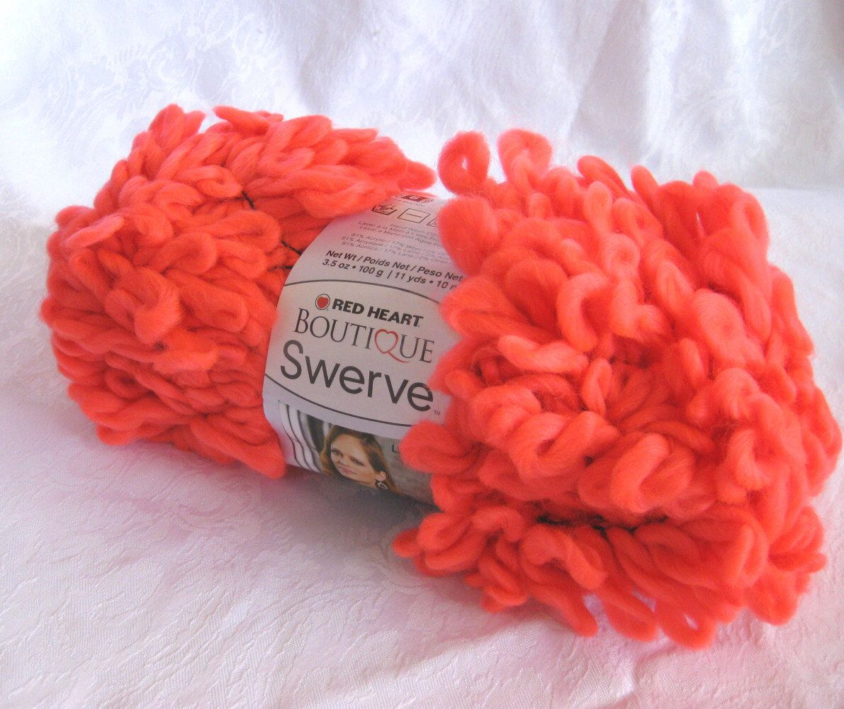 Red Heart Swerve yarn, Cool Coral, super bulky loopy neon style yarn ...