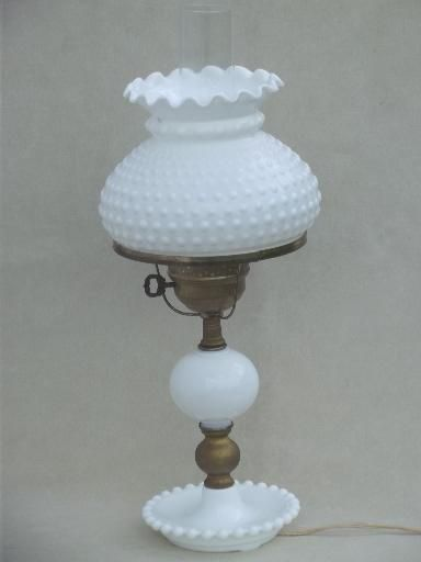 Vintage Milk Glass Table Lamp Fenton Hobnail Glass Student Lamp