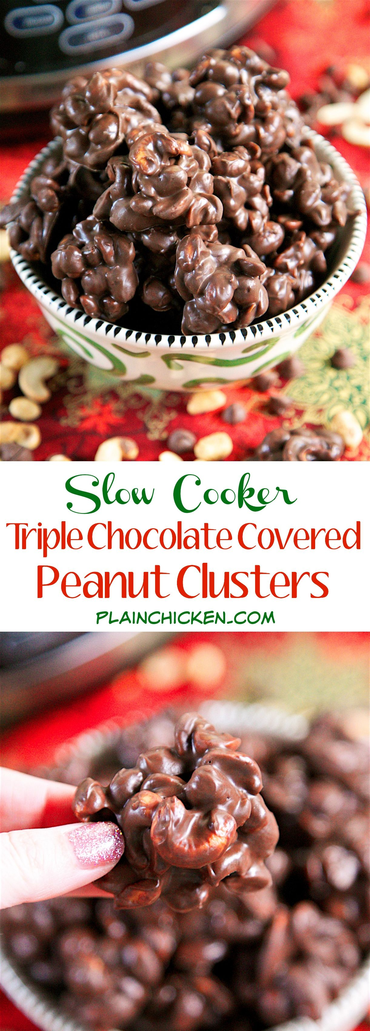 Slow Cooker} Triple Chocolate Covered Peanut Clusters | Jars ...