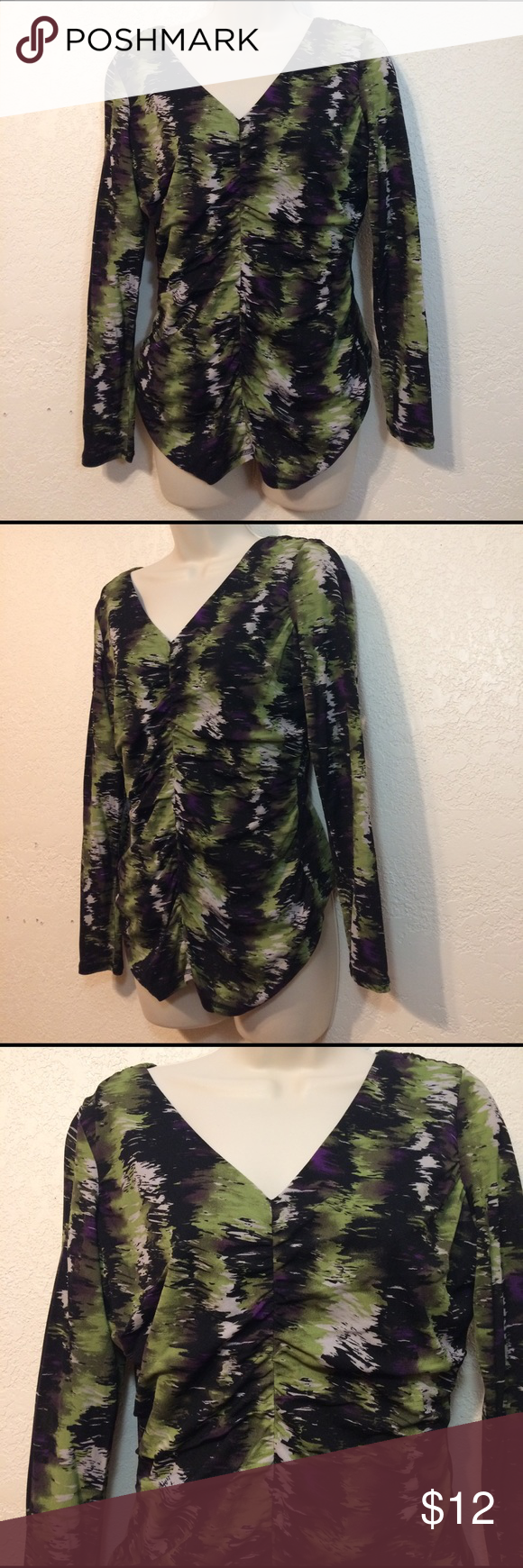Worthington Ruched v Neck multi colored blouse Med Worthington women's multi colored (green, white, purple & black), VNeck, long sleeve Ruched blouse. Size medium has inner lining layer. Shell 100% Nylon lining 100% Polyester nwot flawless Worthington Tops Blouses