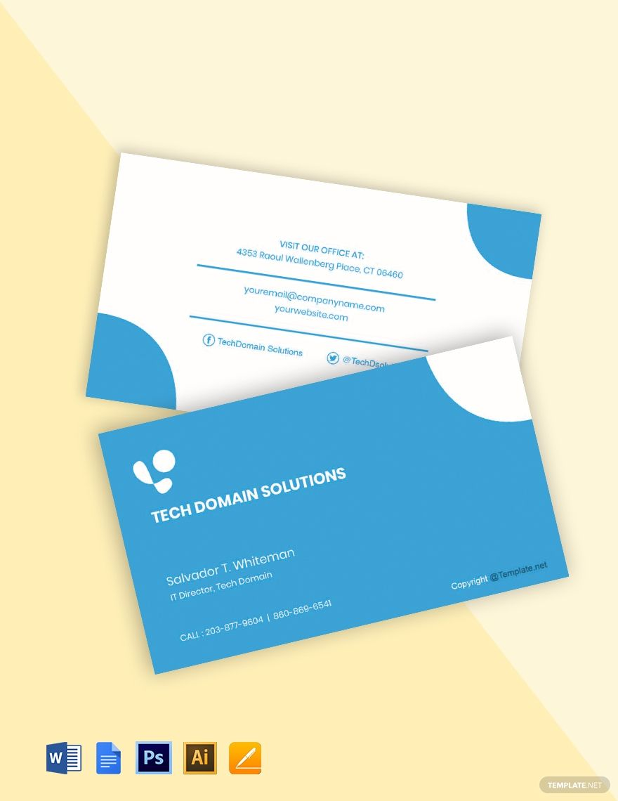 Simple It Support Business Card Template Word Psd Apple Pages Google Docs Illustrator Business Card Template Word Business Card Template Free Business Card Templates