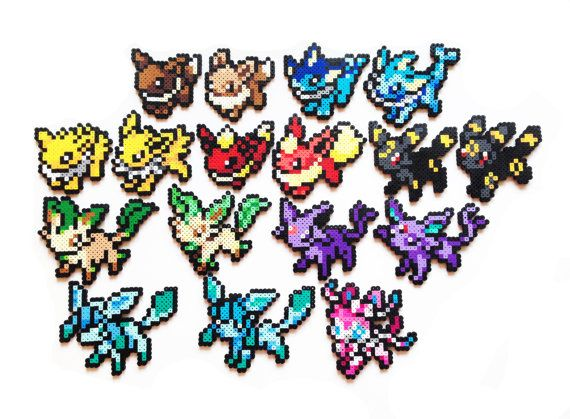 pokemon perler eevee and evolutions old and new sprites