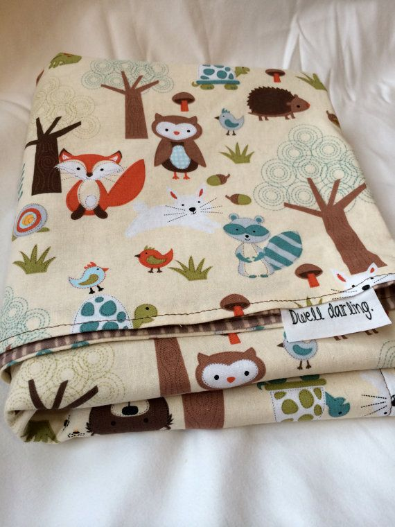 11313edc91c9e Woodland Baby Blanket Forest Animal Baby Blanket by DwellDarling    Could  make something similar