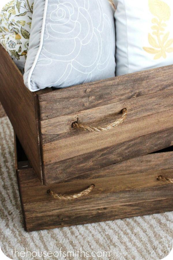 DIY Homemade Vintage Wood Crate Storage Boxes