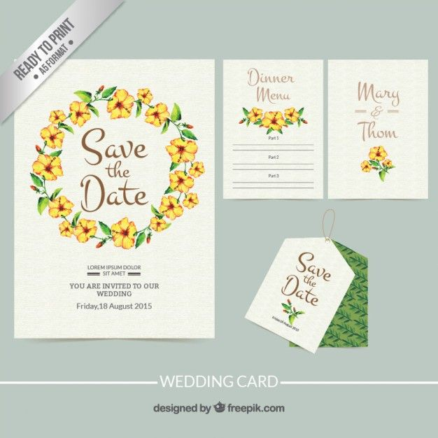 Hand Painted Wedding Invitation With Floral Frame Wedding Card