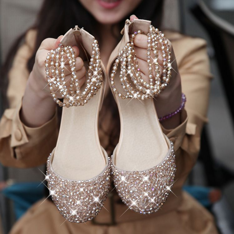 I want pearls*****Flat Wedding Shoes With Bling Bling flat wedding ...