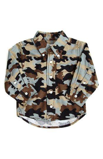 39238f609 Peek Camo Print Button Down Shirt (Baby Boys) | Nordstrom | {Just ...