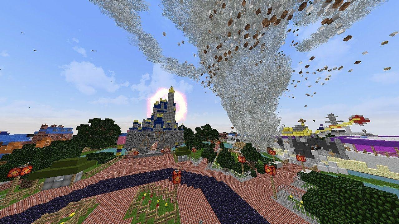 Cool Minecraft TORNADO VS DISNEYLAND MAP Minecraft Tornado Mod - Disneyland map fur minecraft pe