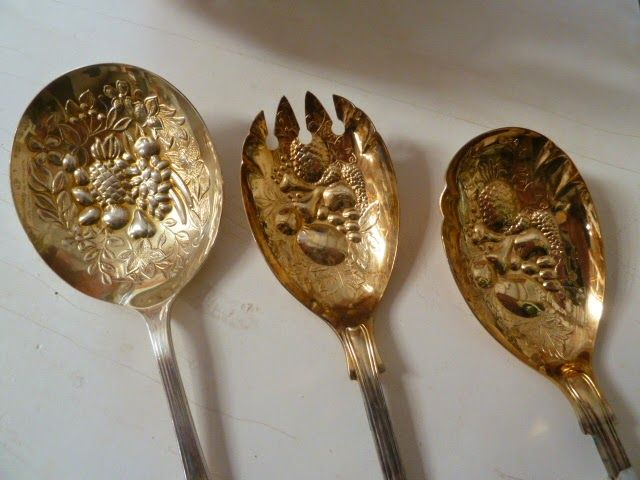 Small Holdings Farm - Silver Plate serving pieces with a gold wash...makes the detail POP
