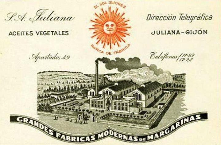 Antiguo anuncio de S.A. JULIANA, fábrica de aceites vegetales y margarinas EL SOL GIJONÉS, situada en el barrio de Gijón del Natahoyo