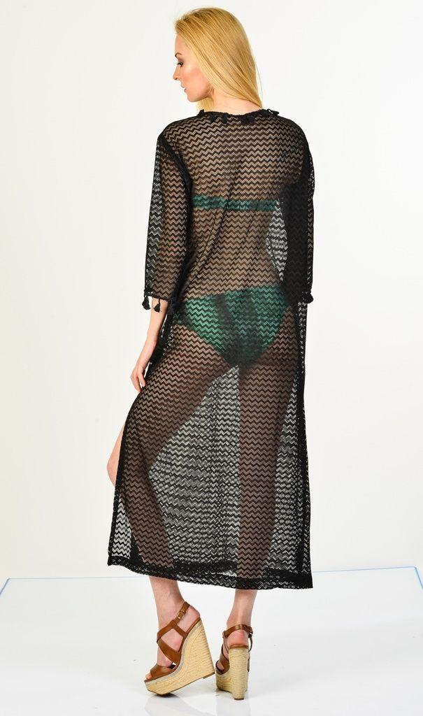 Sanriani Plaj Elbiseleri Siyah/Lily | Plaj Elbiseleri | Moda Fabrik