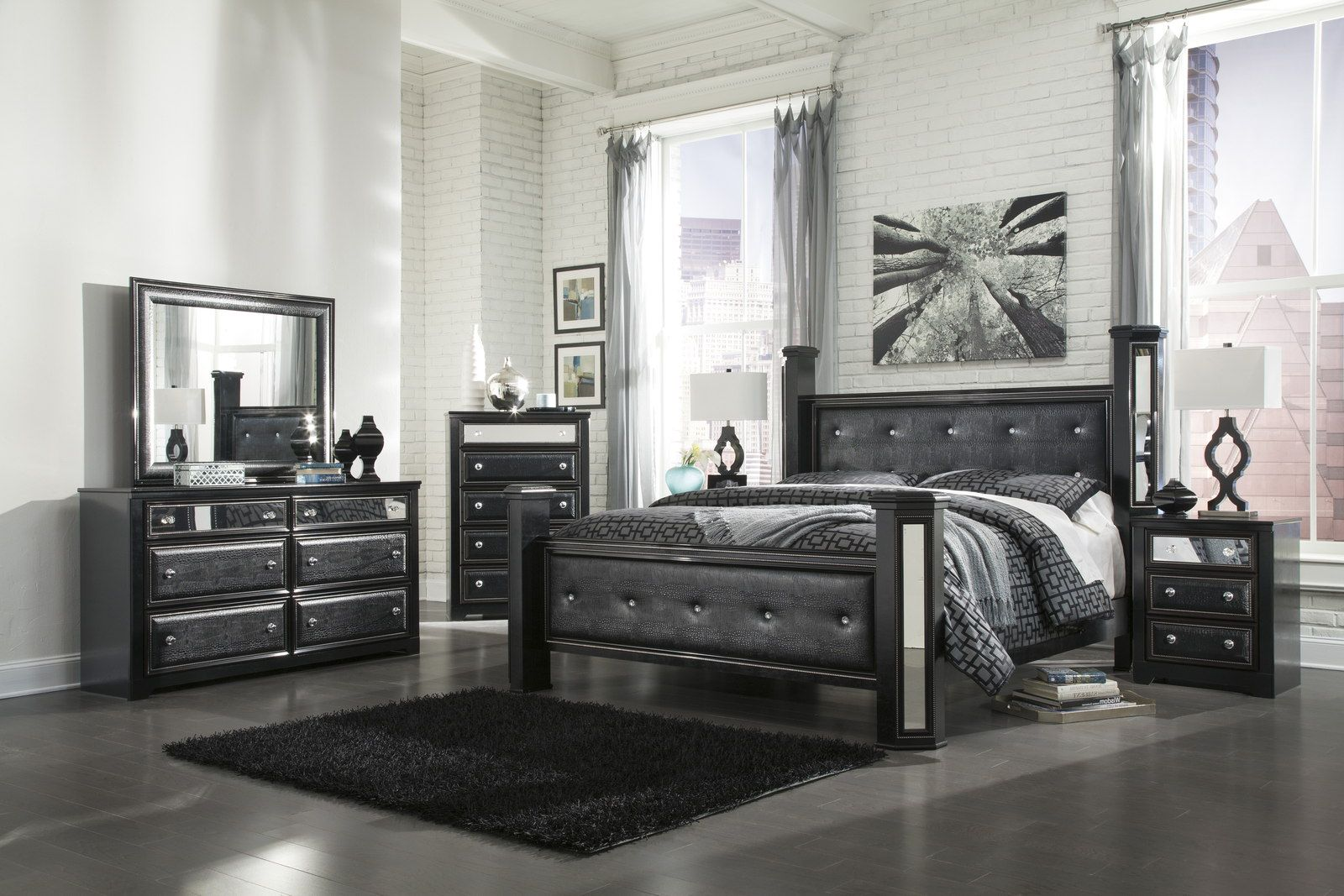 Ashley alamadyre queen upholstered poster bedroom set in for All black bedroom furniture