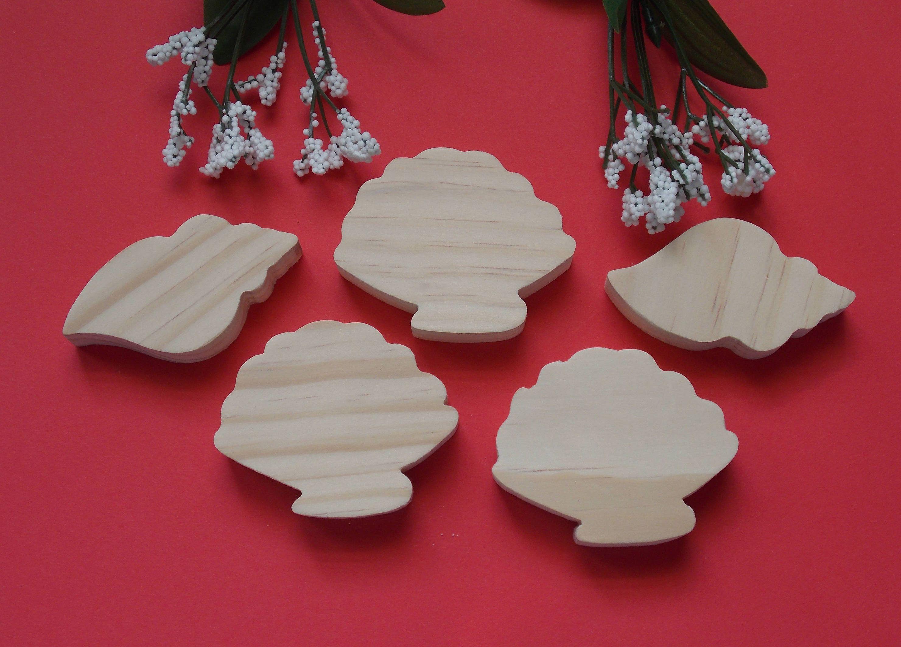 Sea Shells Unfinished Diy Wood Decorations Set Of Five