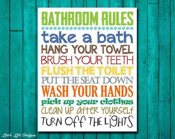 Bathroom Rules Boys Bathroom Decor Boys Bathroom Wall Art Etsy Boys Bathroom Decor Little Boy Bathroom Bathroom Rules