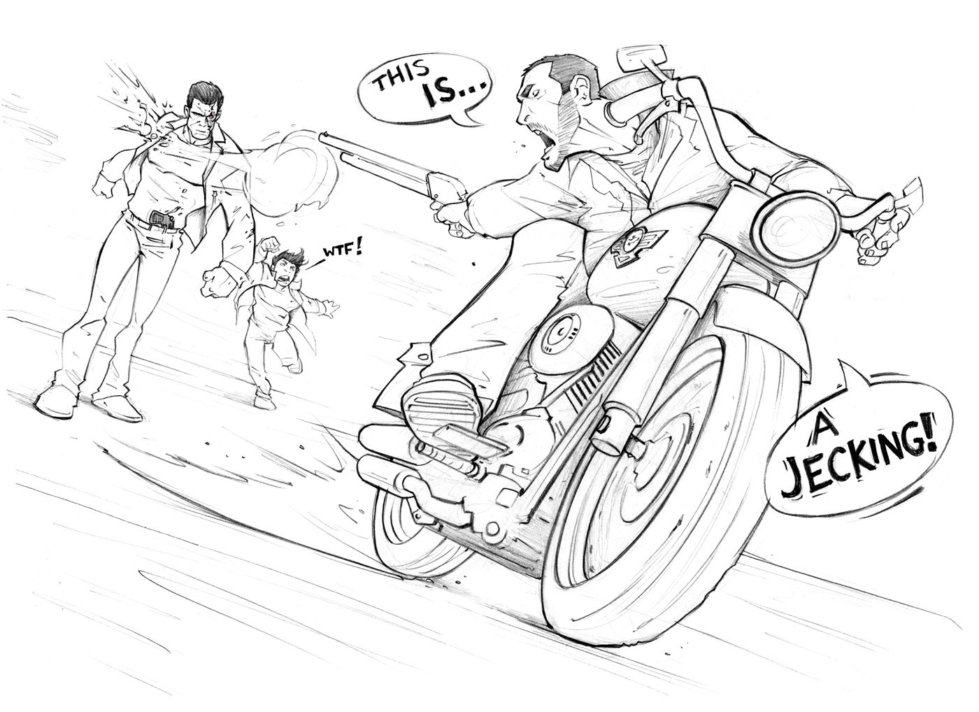 By Patrick Brown Grand Theft Auto Scene Drawing Brown Art