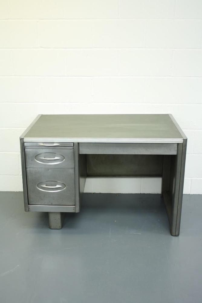 Vintage Industrial 1950s Stripped And Polished Steel Desk 1646 Ebay Steel Desk Polished Steel Desk