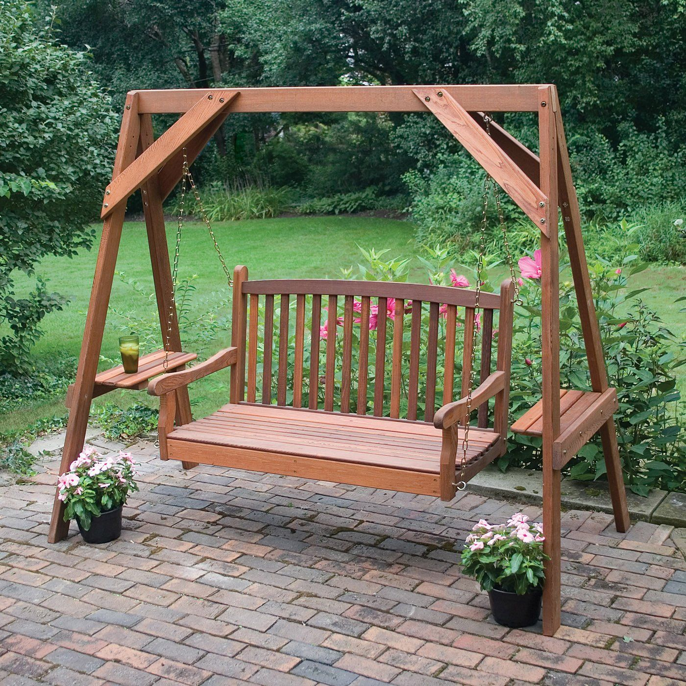 Swing for backyard with side tables ideas para hacer en casa