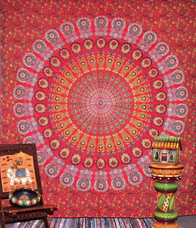Peacock Mandala Tapestry Indian Hippie Wall Hanging