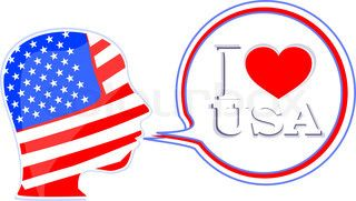 Download Vector of 'USA flag man with speech bubbles - i love usa ...