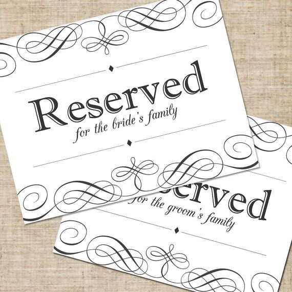 Printable DIY Wedding Reserved Seating Sign, for Tables or Chairs ...