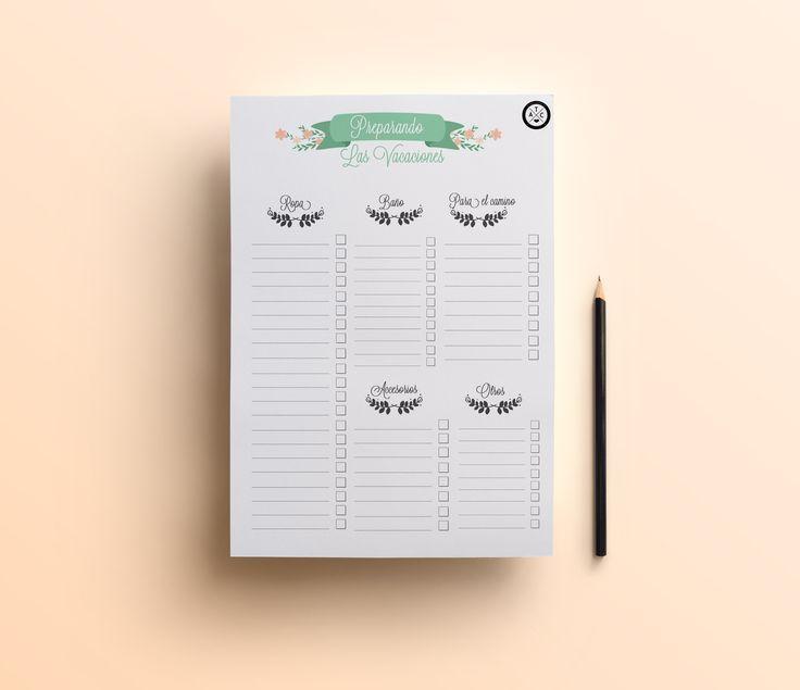 Imprimibles gratis para organizar las vacaciones | De vacaciones ...