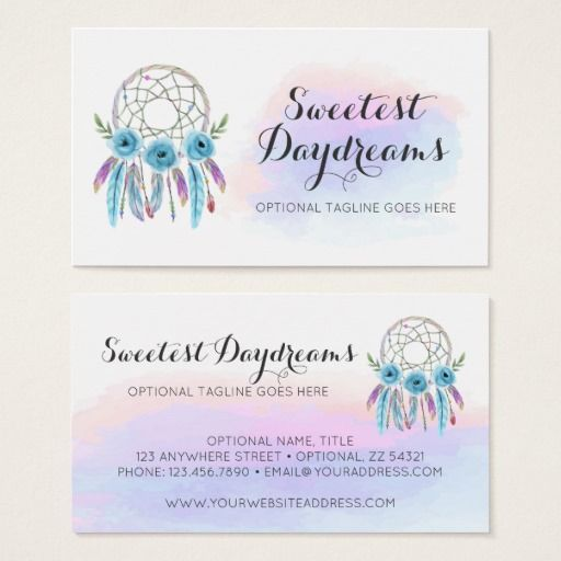 Dreamcatcher watercolor feathers rustic boho chic business card dreamcatcher native american feathers watercolor business card boho chic branding marketing by cyanskydesign on zazzle colourmoves Choice Image