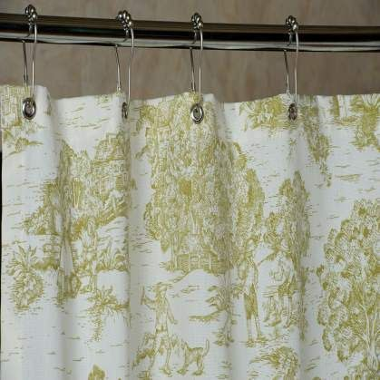 Pear Green Toile Shower Curtain With Grommets Made In Usa 72 X72