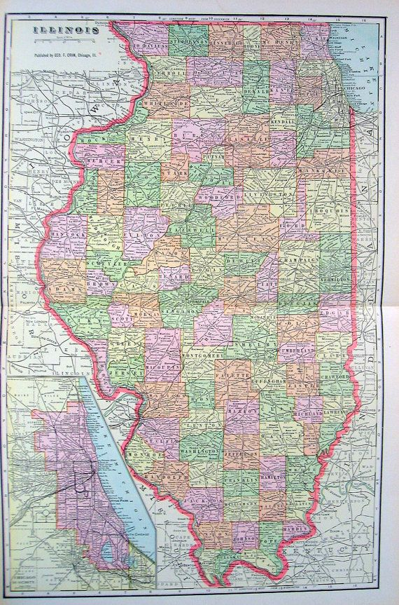 State map of illinois 1901 antique map from world atlas antique maps state map of illinois 1901 antique map from world atlas gumiabroncs Gallery